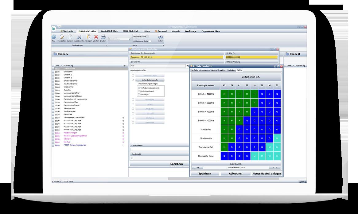 Screenshot BTB Instandhaltungssoftware DIVA DYNAMICS