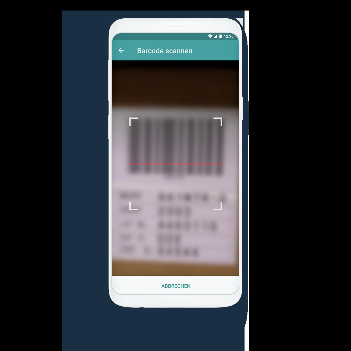 Smartphone zeigt Option Barcode scannen in der Instandhaltungs-App DIVA GO