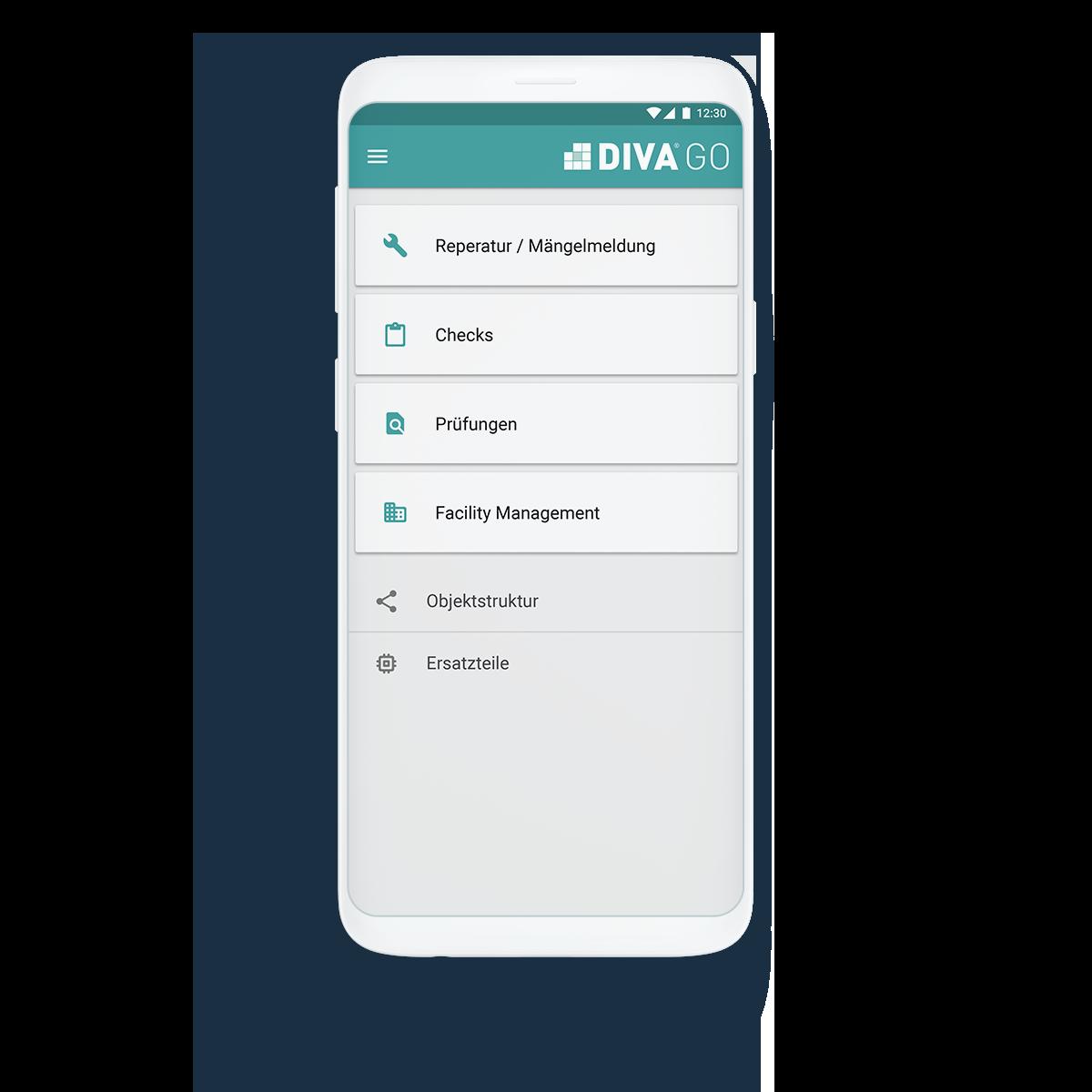 DIVA GO App im Smartphone geöffnet